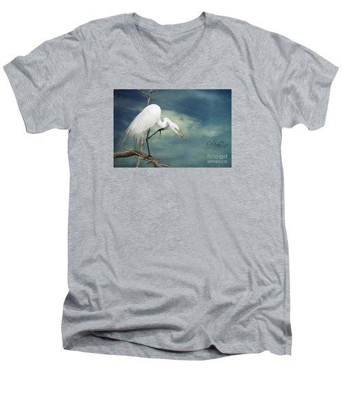 Evangeline Parish Egret Men's V-Neck T-Shirt