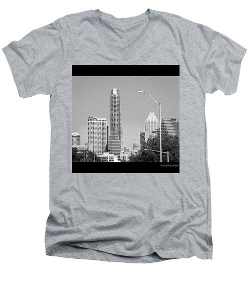 Even In #blackandwhite, The #skyline Of Men's V-Neck T-Shirt by Austin Tuxedo Cat