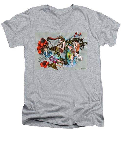 Even Leopards Love The Music Men's V-Neck T-Shirt