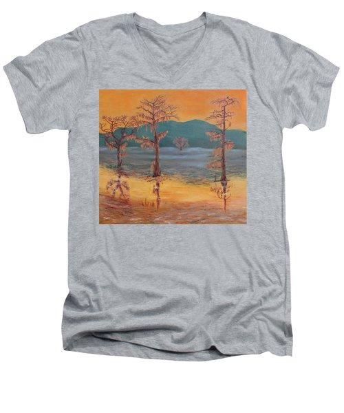 Evening On Caddo Lake Men's V-Neck T-Shirt