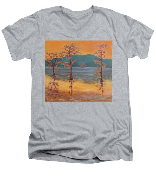 Evening On Caddo Lake Men's V-Neck T-Shirt