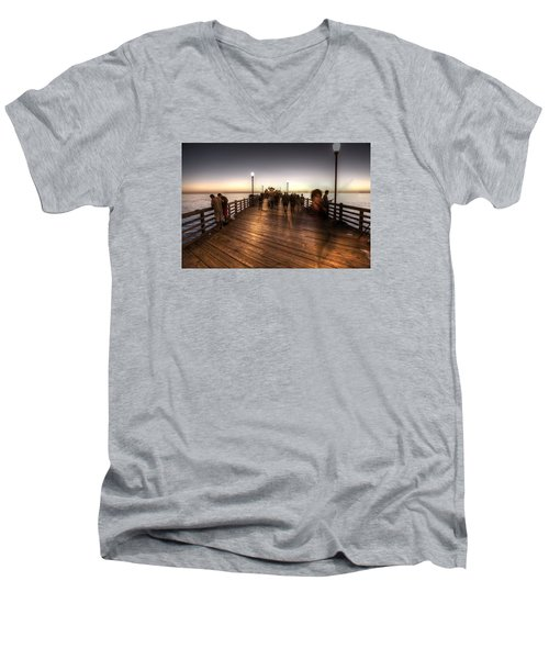 Evening At Oceanside Pier Men's V-Neck T-Shirt