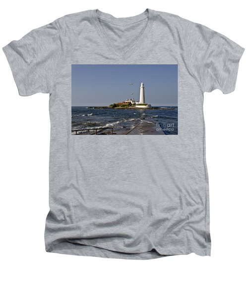 Evening At St. Mary's Lighthouse Men's V-Neck T-Shirt