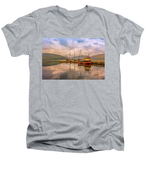 Evening At The Dock Men's V-Neck T-Shirt by Roy McPeak