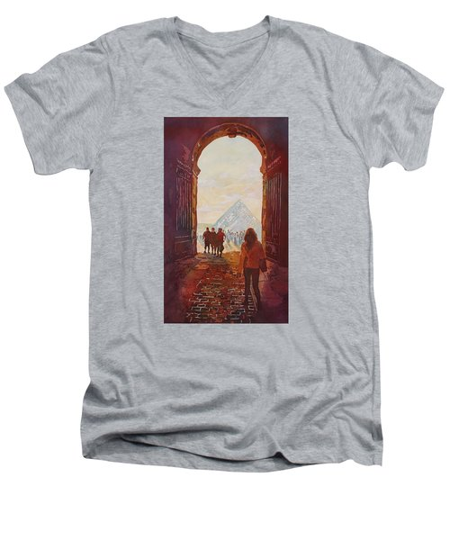 Evening At The Louvre Men's V-Neck T-Shirt by Jenny Armitage