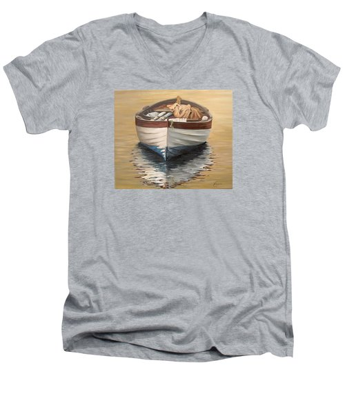 Men's V-Neck T-Shirt featuring the painting Evening Boat by Natalia Tejera