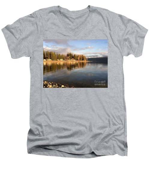Men's V-Neck T-Shirt featuring the photograph Evening By The Lake by Victor K