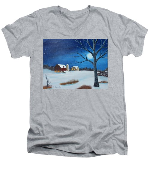 Evening Chores Men's V-Neck T-Shirt by Jack G Brauer