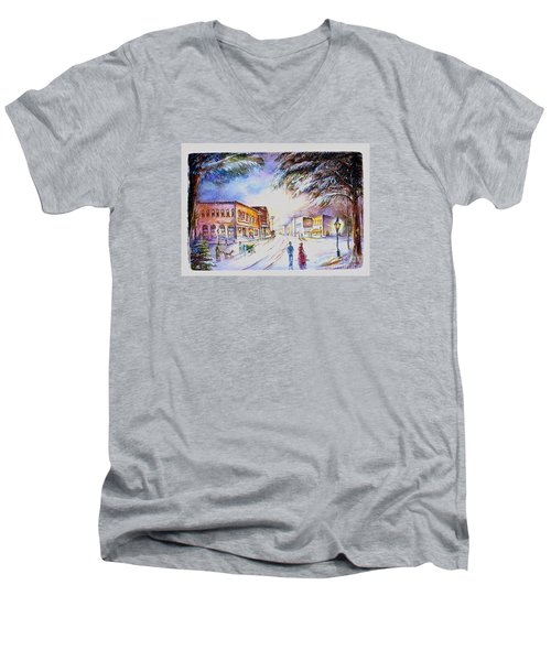Men's V-Neck T-Shirt featuring the painting Evening In Dunnville by Patricia Schneider Mitchell