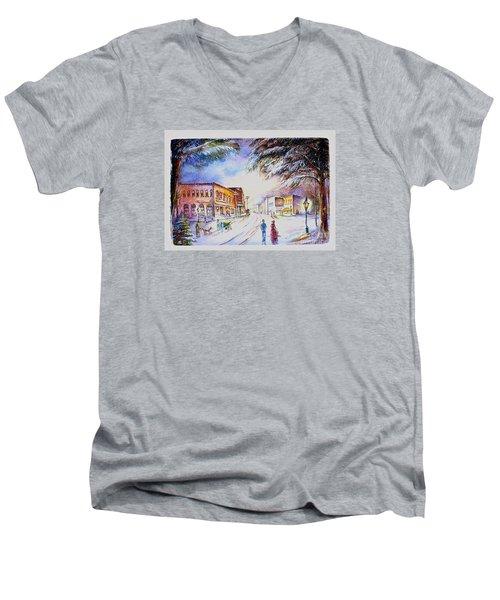 Evening In Dunnville Men's V-Neck T-Shirt by Patricia Schneider Mitchell
