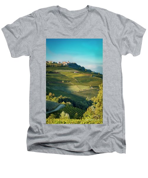 Men's V-Neck T-Shirt featuring the photograph Evening In Piemonte by Brian Jannsen