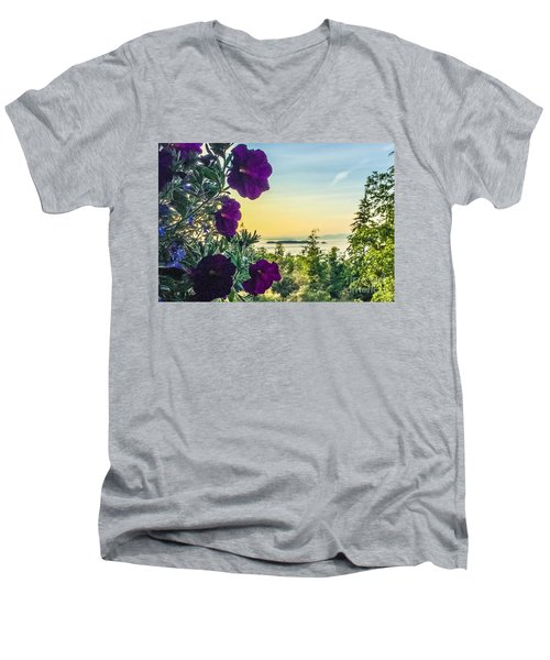 Men's V-Neck T-Shirt featuring the photograph Evening Light On Orcas Island by William Wyckoff