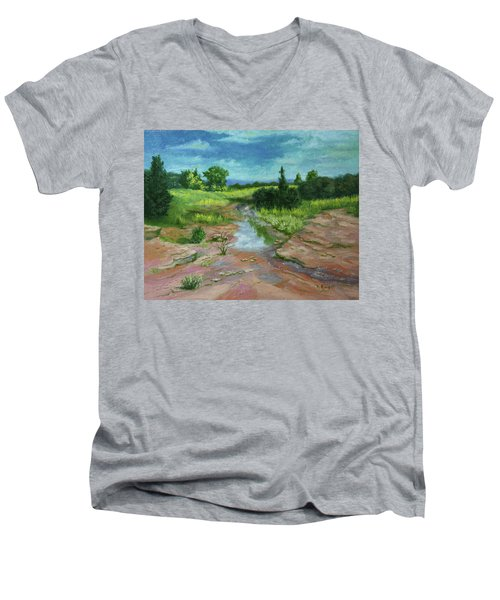 Men's V-Neck T-Shirt featuring the painting Evening Light by Roena King