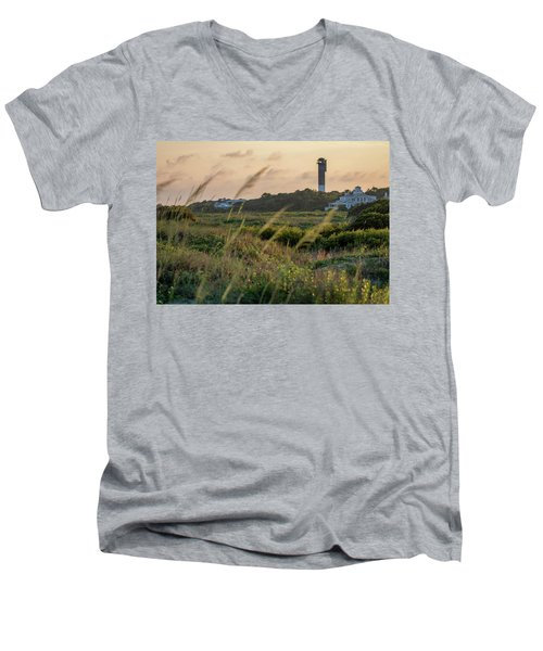 Men's V-Neck T-Shirt featuring the photograph Evening Light Sullivan's Island by Donnie Whitaker