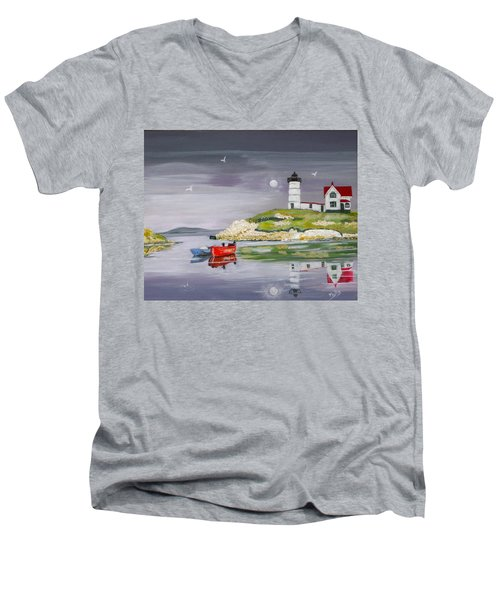 Men's V-Neck T-Shirt featuring the painting Evening Lighthouse by Phyllis Kaltenbach