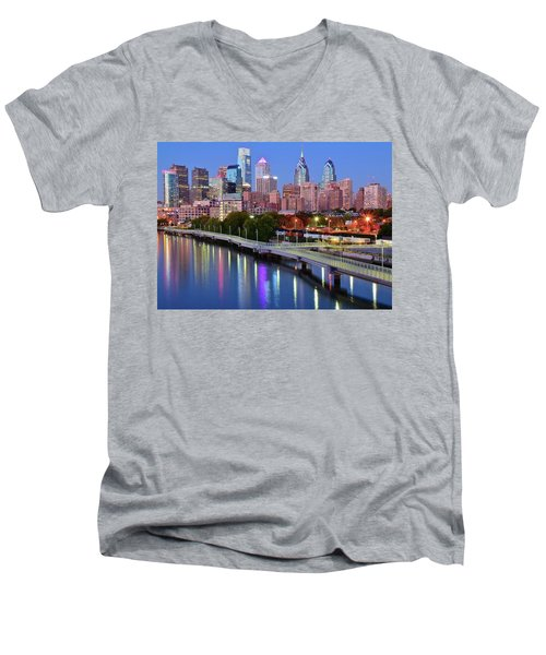 Men's V-Neck T-Shirt featuring the photograph Evening Lights On The Delaware by Frozen in Time Fine Art Photography