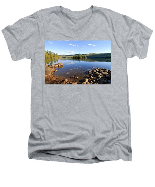 Evening On Cedar Lagoon Pine Lake Men's V-Neck T-Shirt by Larry Ricker