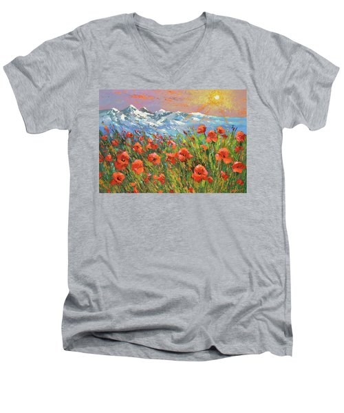 Evening Poppies  Men's V-Neck T-Shirt by Dmitry Spiros