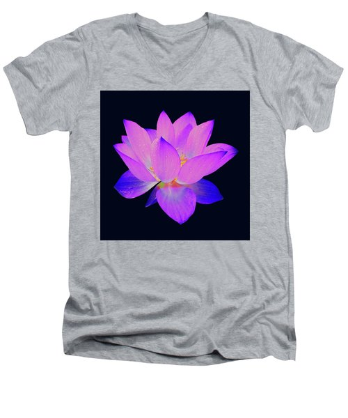 Evening Purple Lotus  Men's V-Neck T-Shirt