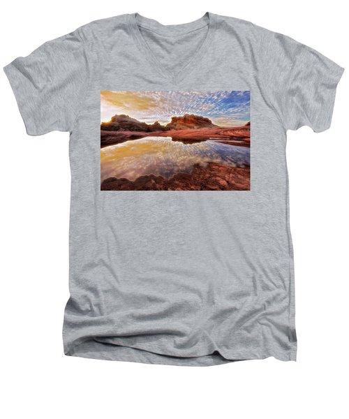 Evening Reflections  Men's V-Neck T-Shirt by Nicki Frates