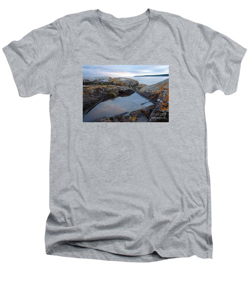 Men's V-Neck T-Shirt featuring the photograph Evening Reflections by Sandra Updyke