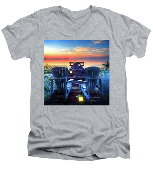 Men's V-Neck T-Shirt featuring the photograph Evening Romance by Debra and Dave Vanderlaan