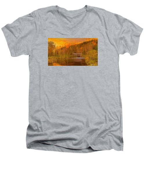 Men's V-Neck T-Shirt featuring the digital art Evening Shadows II by John Selmer Sr