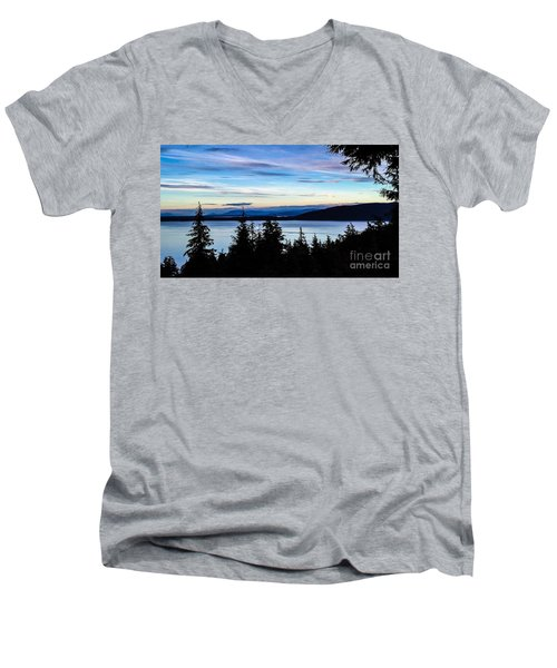 Men's V-Neck T-Shirt featuring the photograph Evening Sky by William Wyckoff