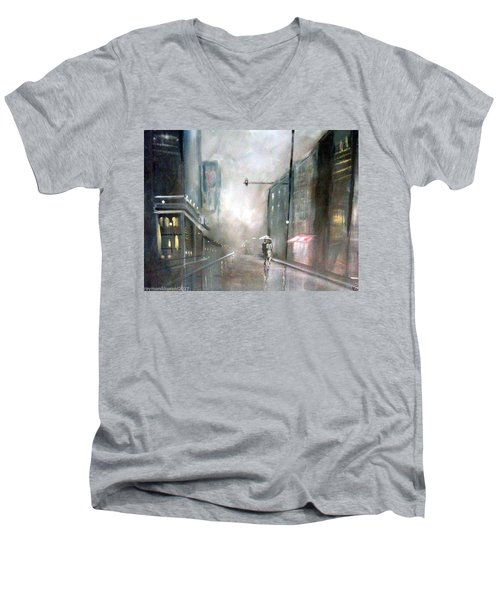 Evening Walk In The Rain Men's V-Neck T-Shirt by Raymond Doward