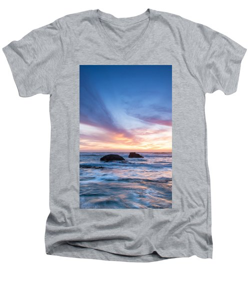 Men's V-Neck T-Shirt featuring the photograph Evening Waves by Catherine Lau