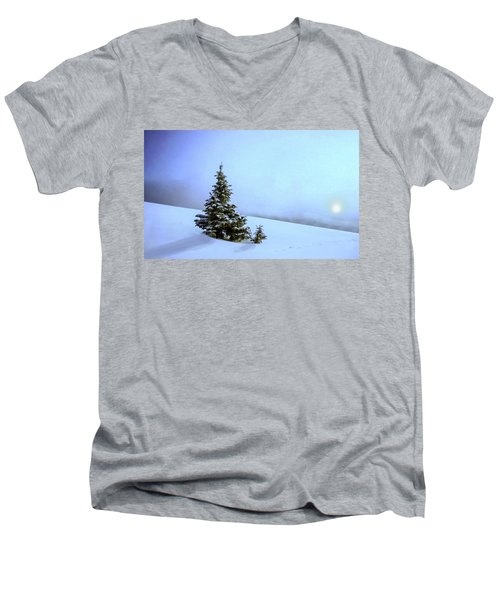 Men's V-Neck T-Shirt featuring the painting Evergreen Offspring P D P by David Dehner