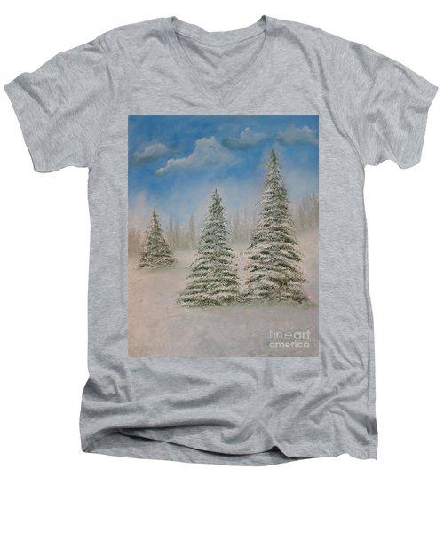 Evergreens In Snow  Men's V-Neck T-Shirt