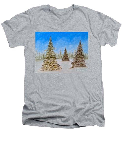 Evergreens In Snowy Field Enhanced Colors Men's V-Neck T-Shirt