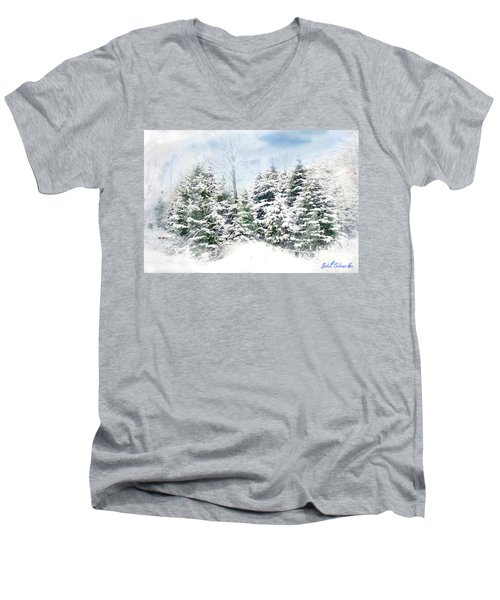 Men's V-Neck T-Shirt featuring the digital art Evergreens by John Selmer Sr