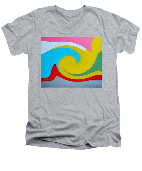 Men's V-Neck T-Shirt featuring the digital art Everybody Has A Cousin In Miami Two by Dick Sauer