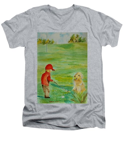 Men's V-Neck T-Shirt featuring the painting Everything Waits While I Golf Art by Geeta Biswas