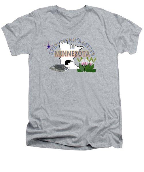 Everything's Better In Minnesota Men's V-Neck T-Shirt by Pharris Art