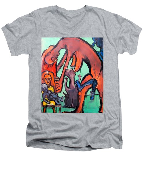 Men's V-Neck T-Shirt featuring the painting Evolution Stuck - Fertility by Kenneth Agnello