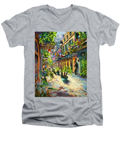 Men's V-Neck T-Shirt featuring the painting Exchange Alley by Dianne Parks