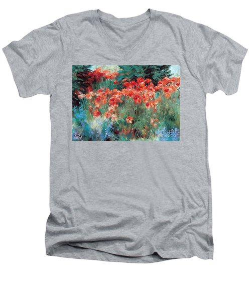 Men's V-Neck T-Shirt featuring the painting Excitment by Rosario Piazza