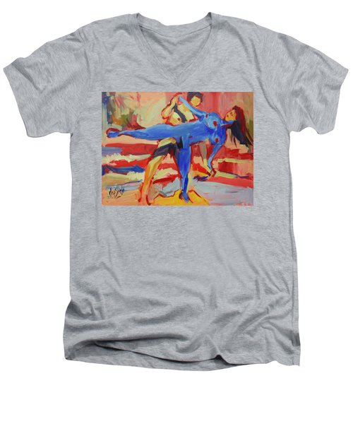 Exercising On The Beach Men's V-Neck T-Shirt