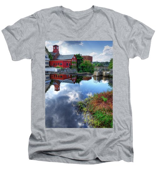 Exeter New Hampshire Men's V-Neck T-Shirt by Rick Mosher