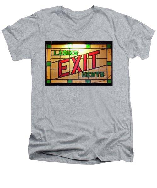 Exit - Ladies/gents Art Deco Sign Men's V-Neck T-Shirt