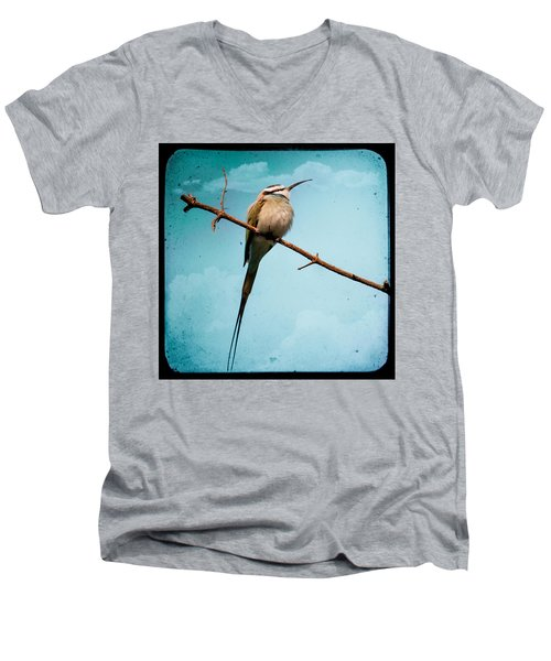 Men's V-Neck T-Shirt featuring the photograph Exotic Birds - White Throated Bee Eater by Gary Heller