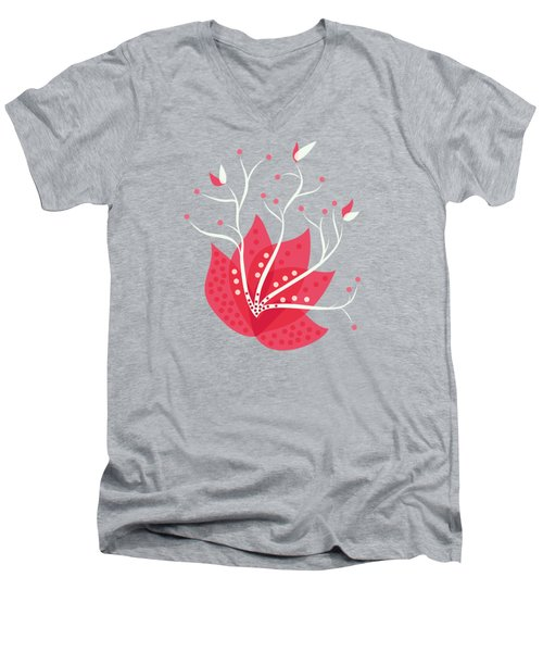 Exotic Pink Flower And Dots Men's V-Neck T-Shirt