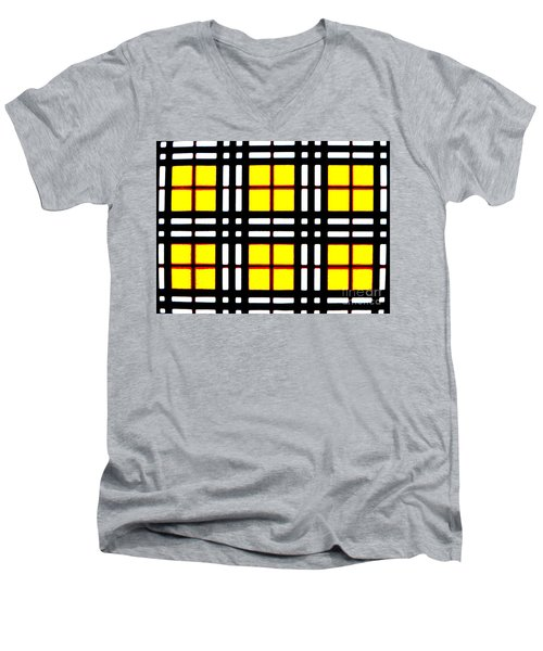 Expanding Plaid Men's V-Neck T-Shirt by Tim Townsend