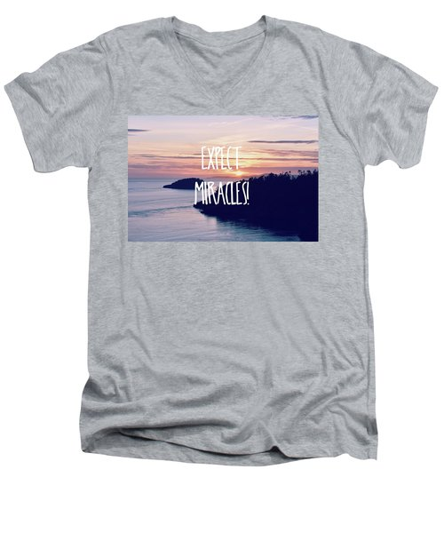 Expect Miracles Men's V-Neck T-Shirt by Robin Dickinson