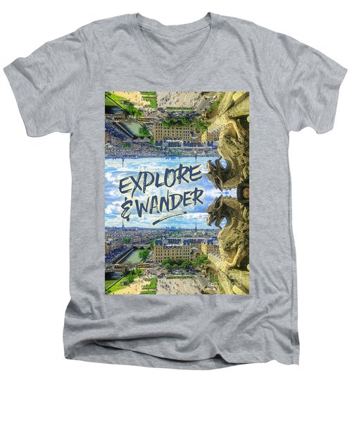 Explore And Wander Notre Dame Cathedral Gargoyle Paris Men's V-Neck T-Shirt