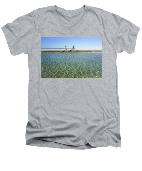 Exploring A Tidal Beach Lagoon Men's V-Neck T-Shirt
