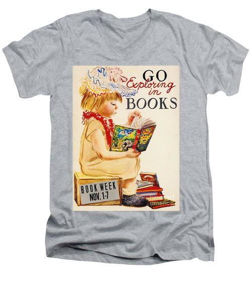 Men's V-Neck T-Shirt featuring the photograph Exploring Books 1961 by Padre Art